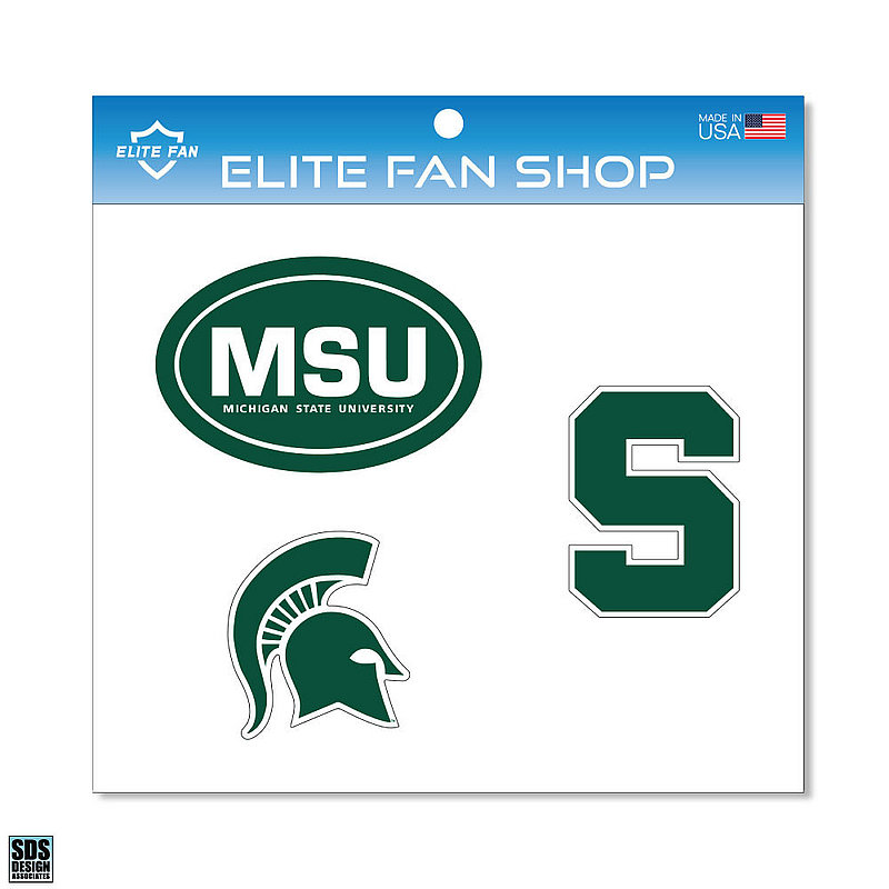 "Michigan State Spartans 6"" Vinyl Decal 3-Pack DMSU01"