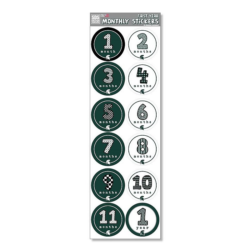 Michigan State Spartans Baby's First Year Monthly Stickers