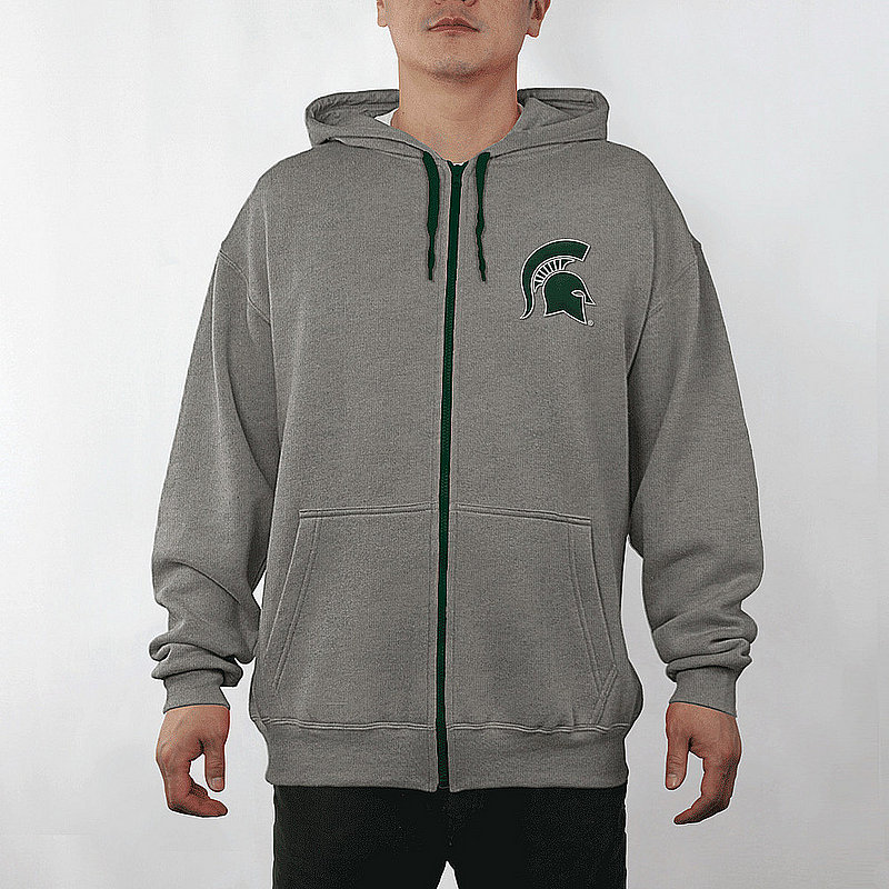 Michigan State Spartans Full Zip Hooded Sweatshirt Captain Charcoal MCT29803