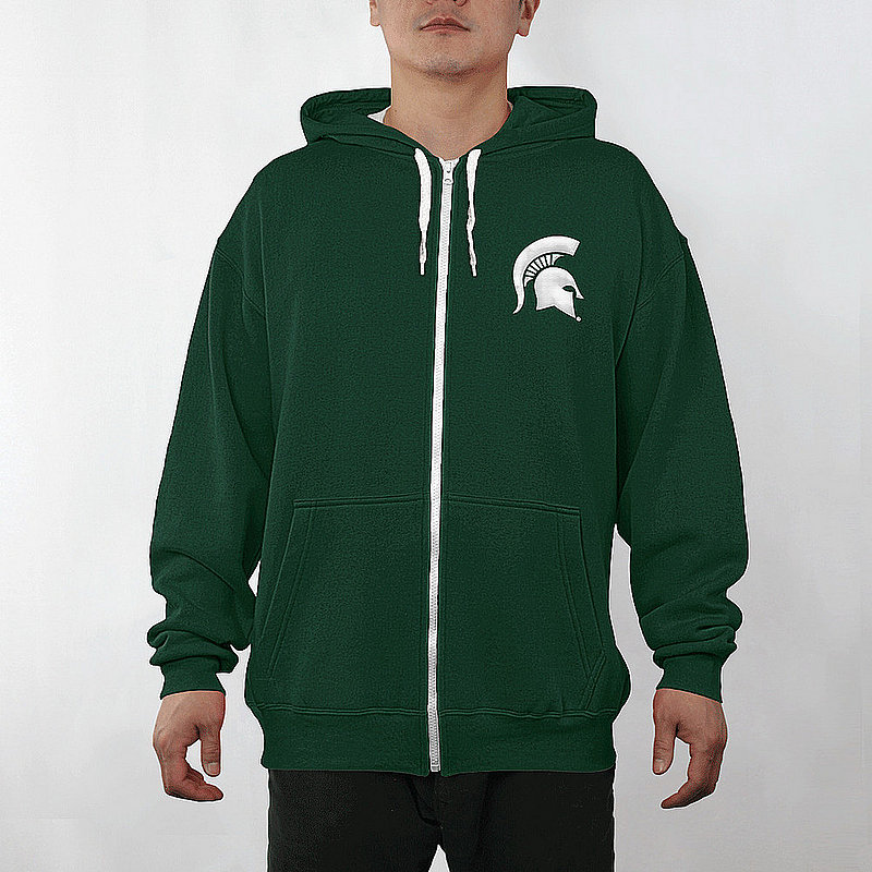 Michigan State Spartans Full Zip Hooded Sweatshirt Captain Green MCT29803