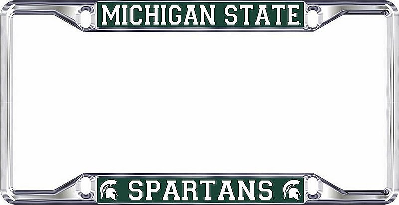 Michigan State Spartans License Plate Frame Silver 16662