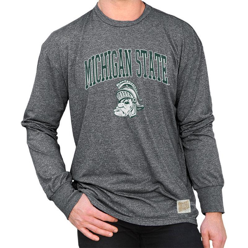 Michigan State Spartans Retro Long Sleeve TShirt Charcoal RB424_MSU008R1A_MTCH
