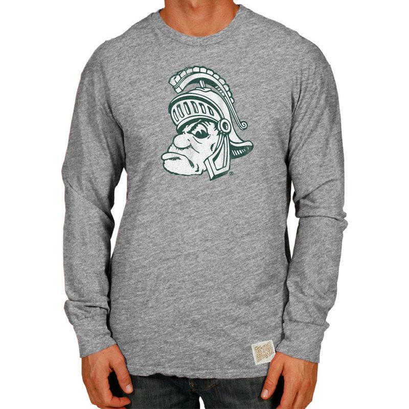 Michigan State Spartans Retro TriBlend Long Sleeve Tshirt Gray CMSU062A