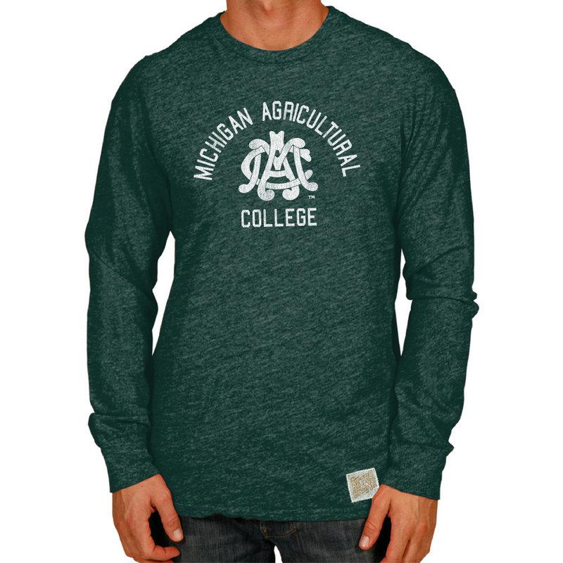 Michigan State Spartans Retro TriBlend Long Sleeve Tshirt Green CMSU041B_STF