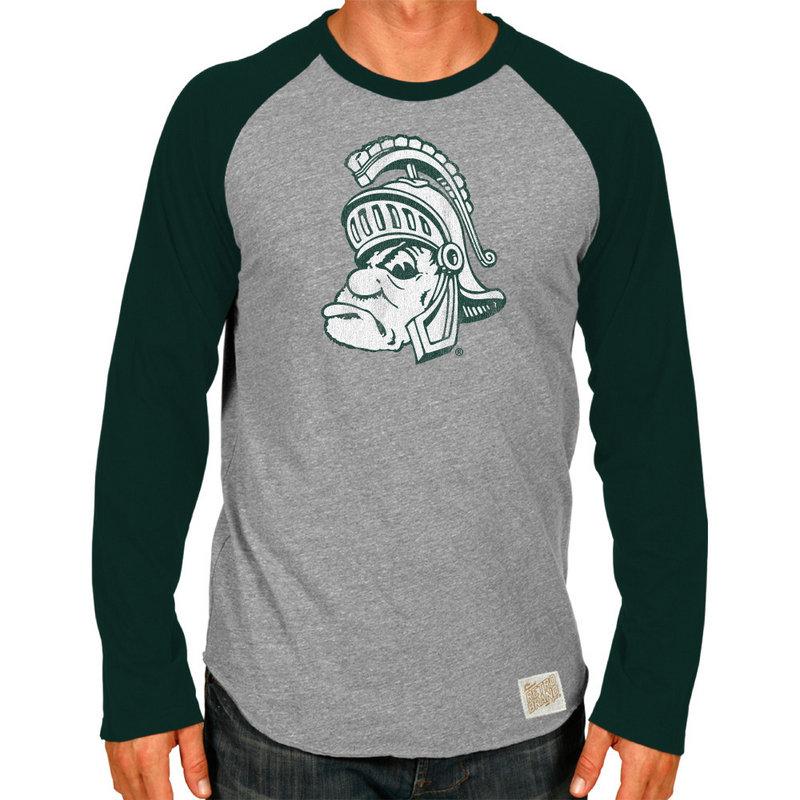 Michigan State Spartans Retro TriBlend Long Sleeve Tshirt Raglan Gray CMSU062A_FOR