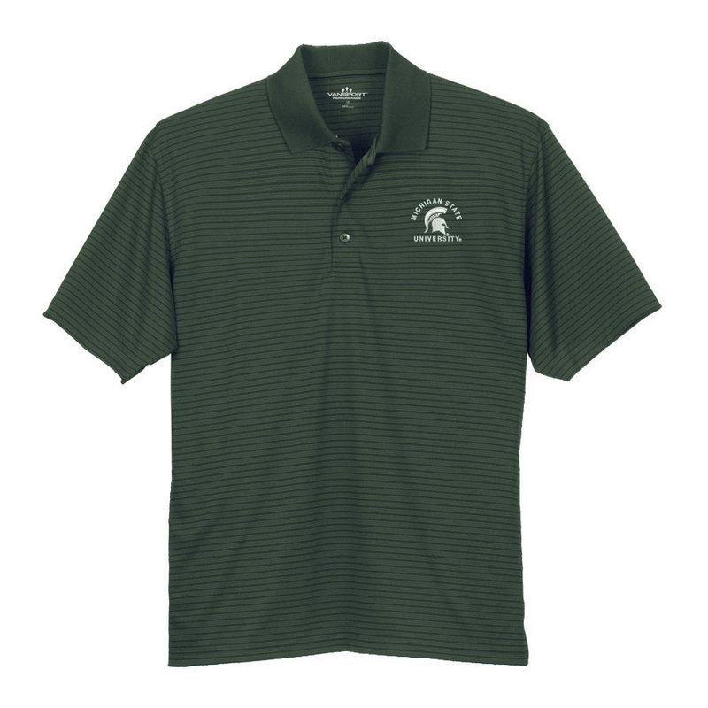 Michigan State Spartans Striped Performance Golf Polo Green 244892 MICH ST