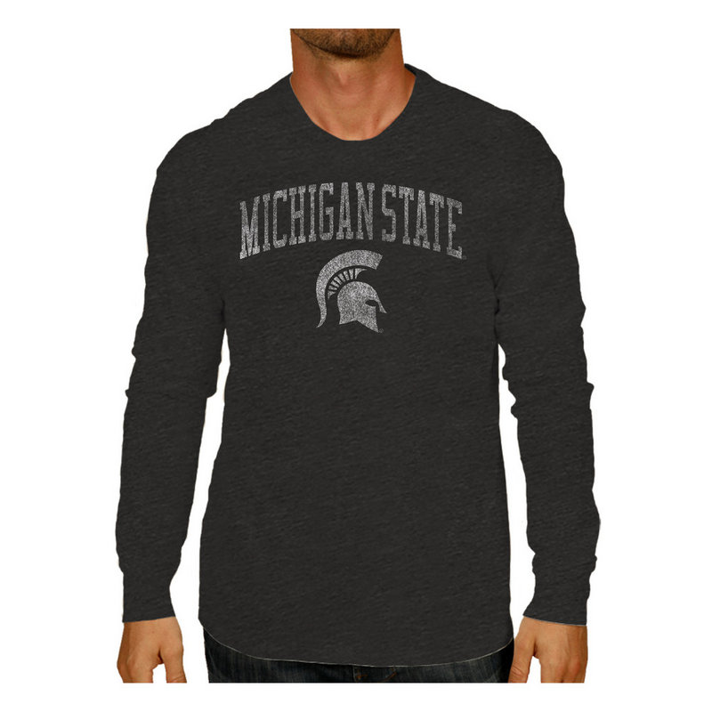 Michigan State Spartans Vintage Long Sleeve Tshirt Charcoal Victory MSUV1412A_TV402_HBK