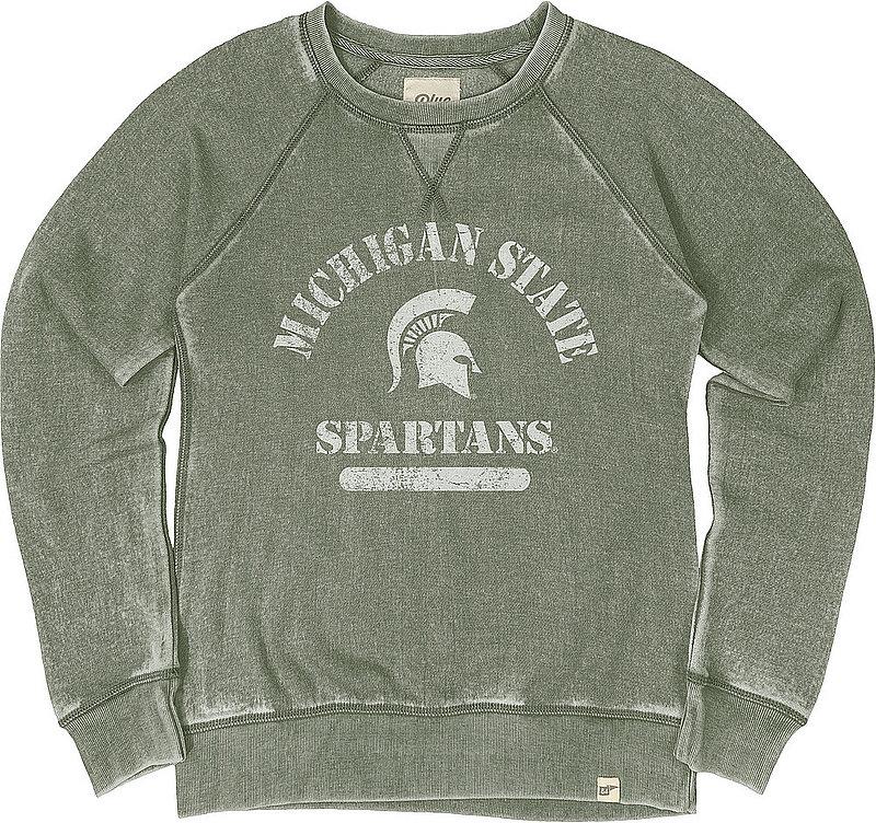 Michigan State Spartans Womens Burnout Crewneck Sweatshirt Vintage S7F9_JBWFC_WOODLND