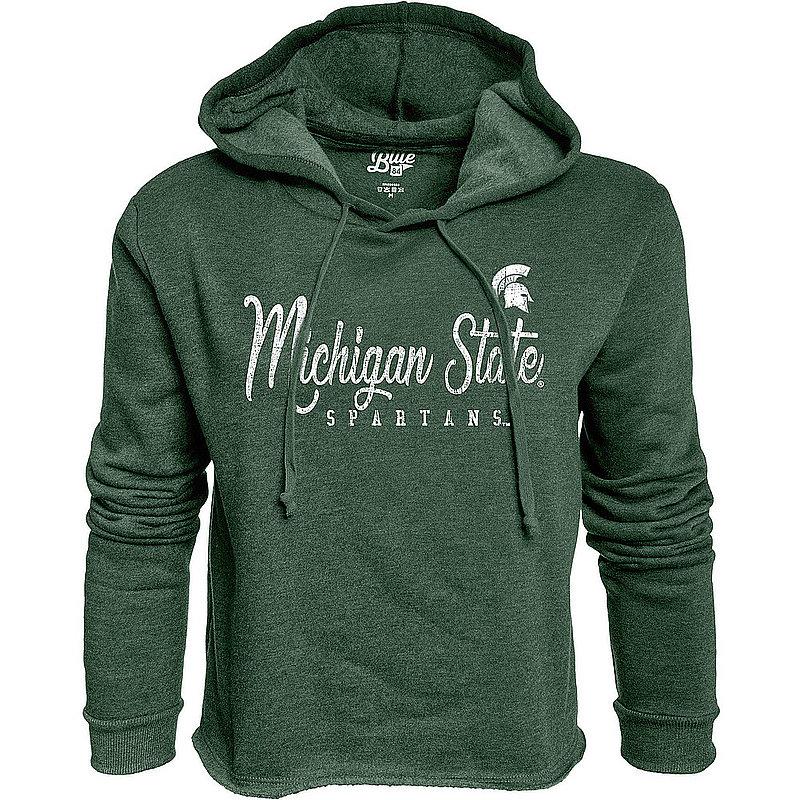 Michigan State Spartans Womens Crop Hoodie Sweatshirt Vintage S7FF_JCCF_FORE