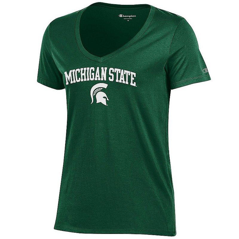 Michigan State Spartans Womens VNeck TShirt Green Arch APC03442781