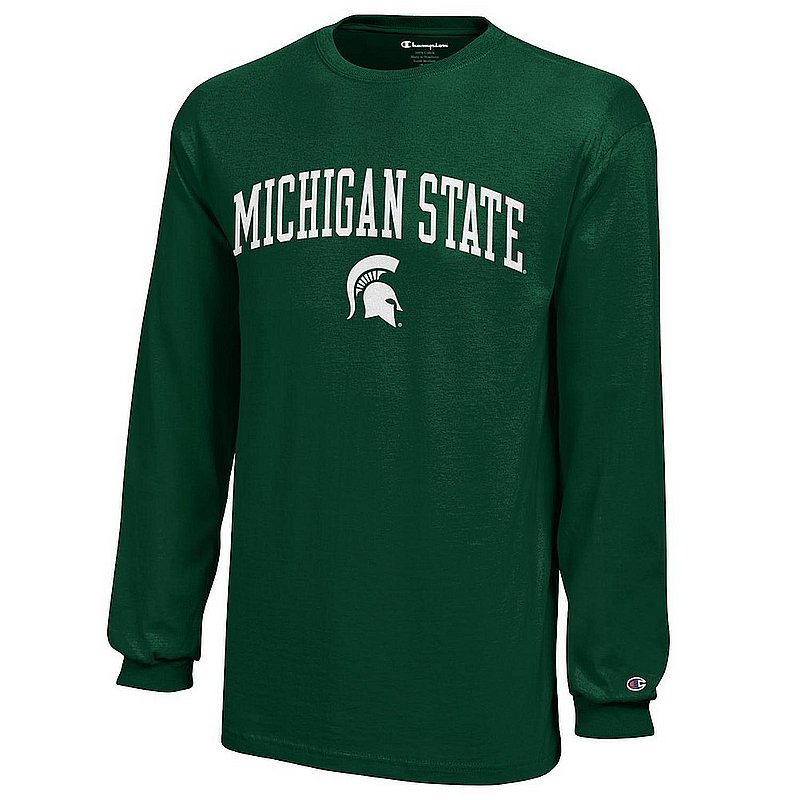 Michigan State Spartans Youth Kids Long Sleeve TShirt Arch Green APC03008682