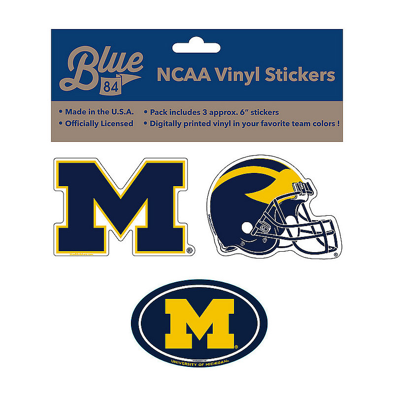 "Michigan Wolverines 6"" Vinyl Decal 3-Pack DMCH01"