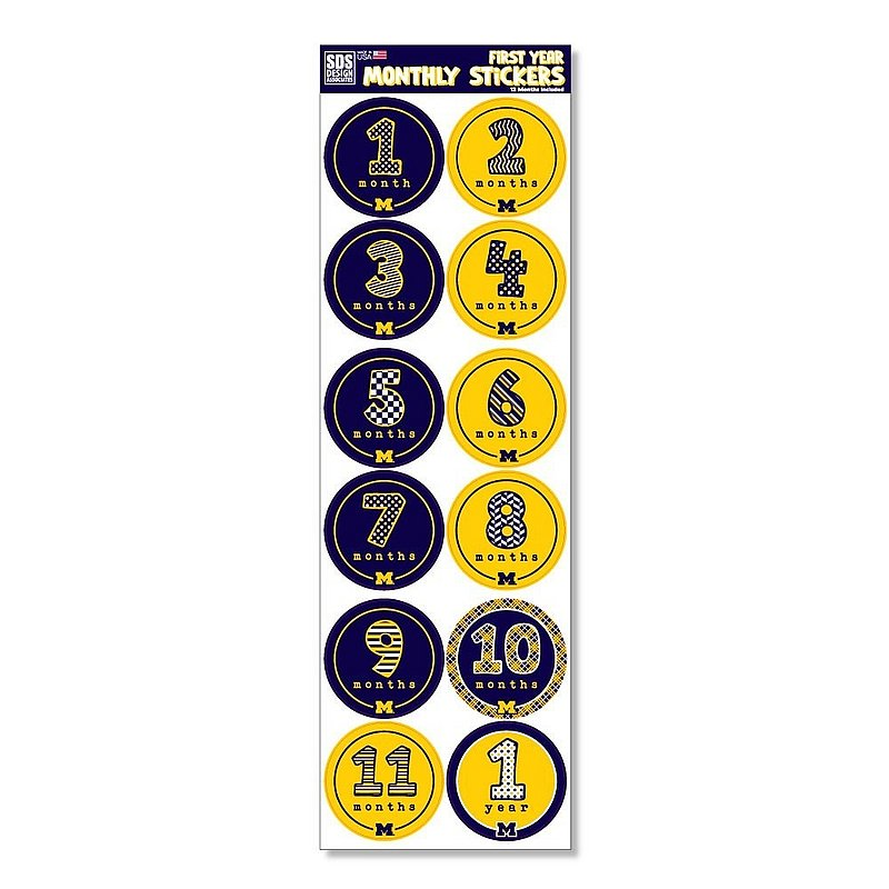 Michigan Wolverines Baby's First Year Monthly Stickers