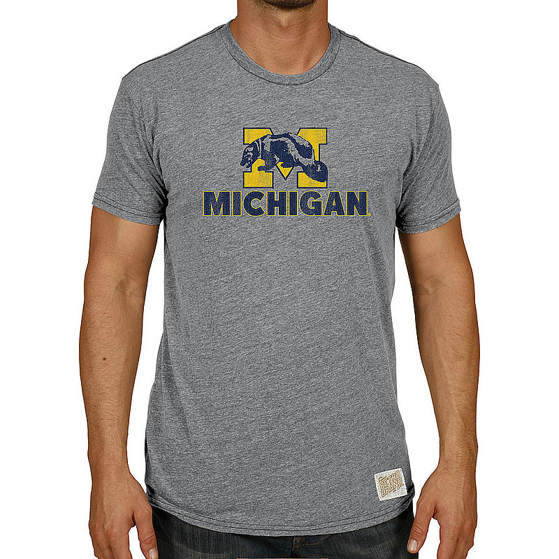 Michigan Wolverines Big & Tall Tshirt Gray Vintage 1XB to 5XB and XLT to 5XLT MICR1083AX_RB120M_STG