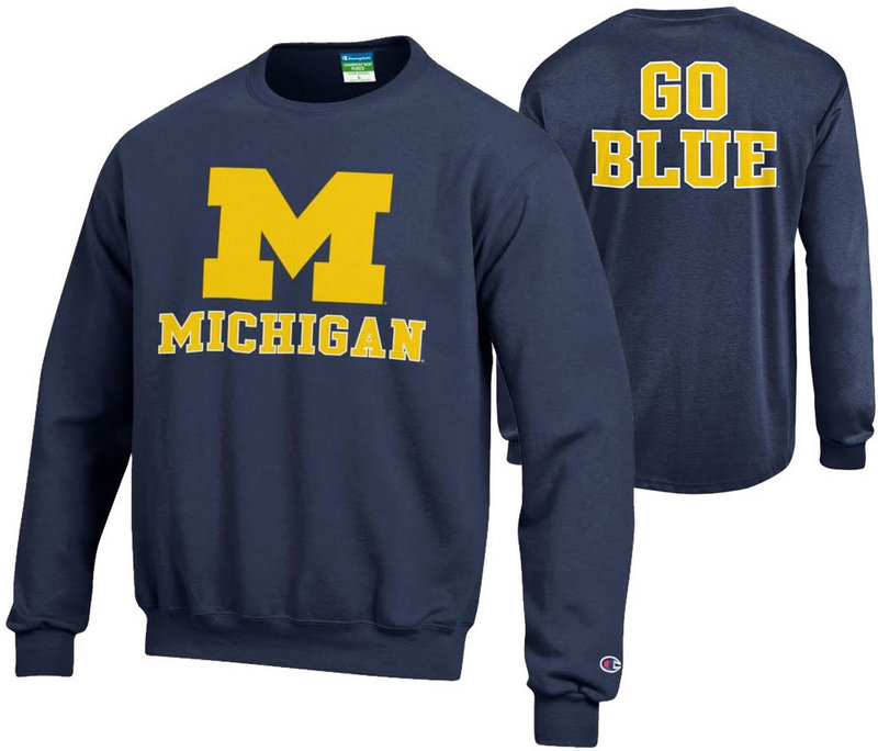Michigan Wolverines Crewneck Sweatshirt Back Navy APC02867876/APC02867875