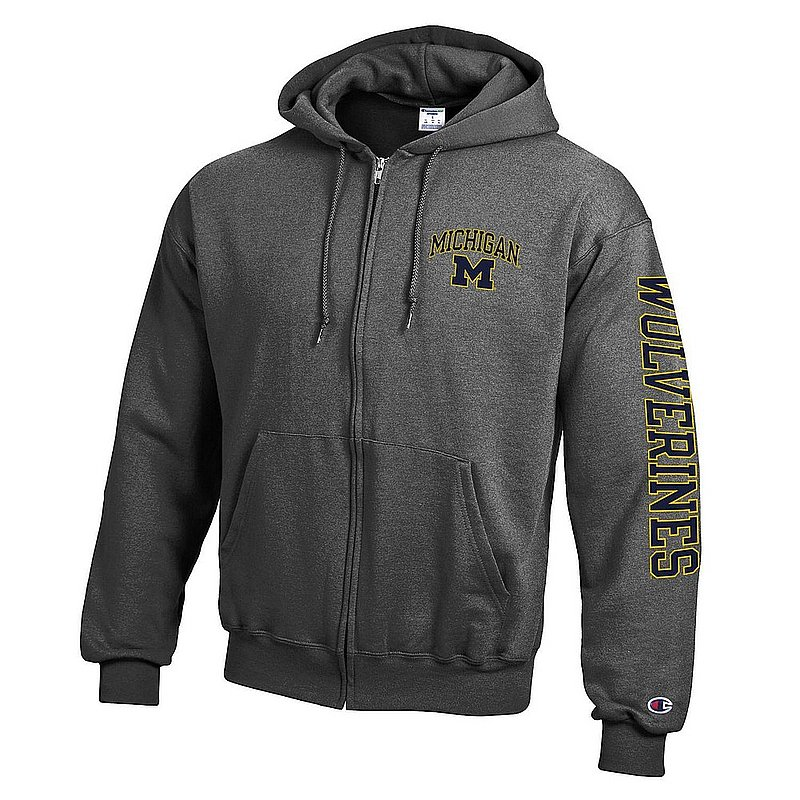 Michigan Wolverines Full Zip Hoodie Sweatshirt Letterman Charcoal APC03027306-APC03027308