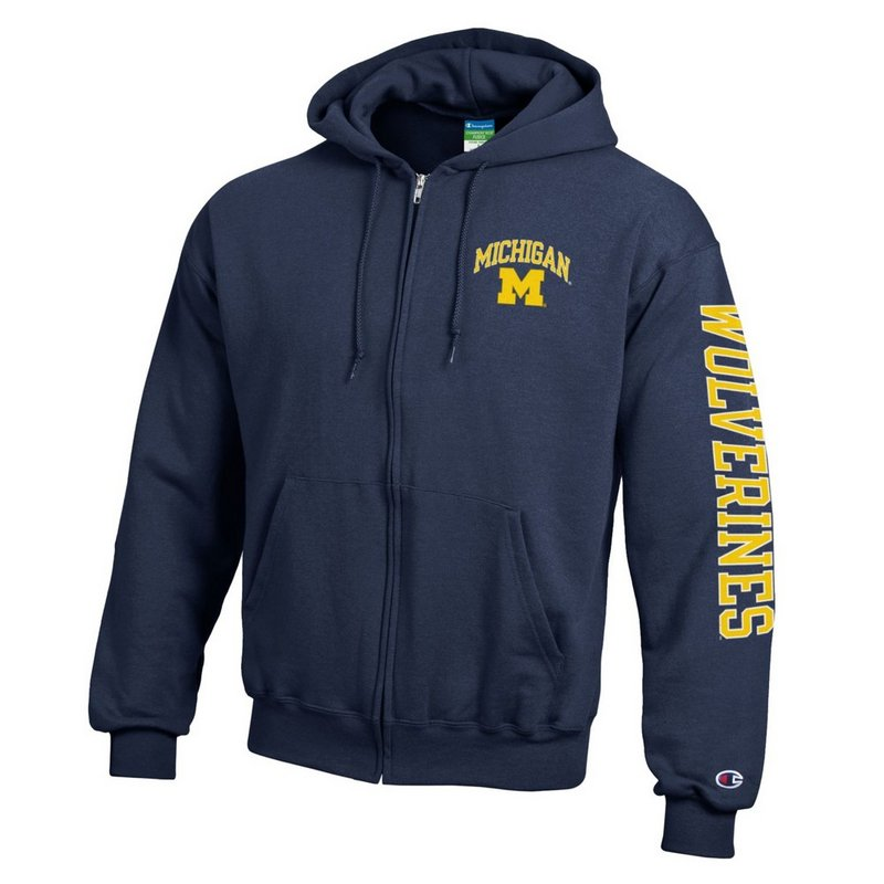 Michigan Wolverines Full Zip Hoodie Sweatshirt Letterman Navy APC02845663/APC02845665