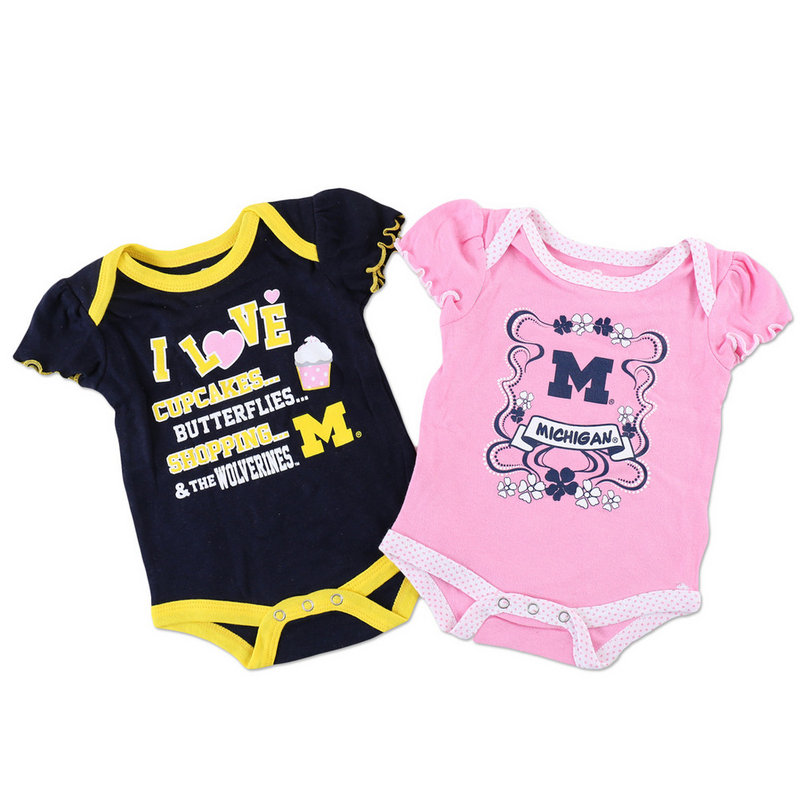 Michigan Wolverines Girls Baby Clothes 2 Pack Onesies 42CDN