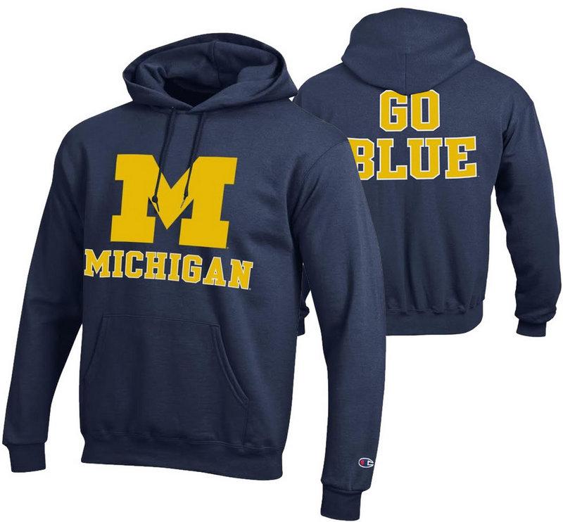 Michigan Wolverines Hoodie Sweatshirt Back Navy APC02867876/APC02867875