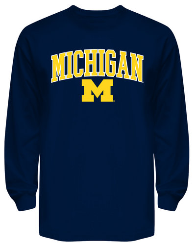 Michigan Wolverines Long Sleeve T Shirt Navy APC02827796