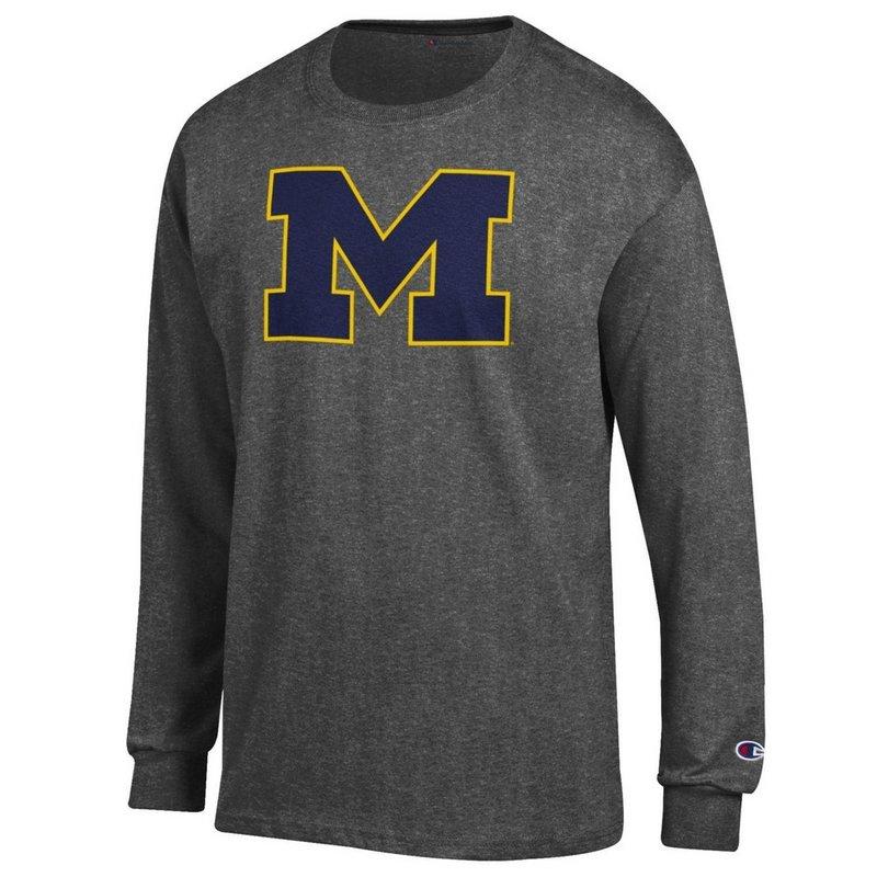 Michigan Wolverines Long Sleeve Tshirt Charcoal APC02867872