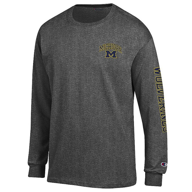Michigan Wolverines Long Sleeve Tshirt Letterman Charcoal APC03027306-APC03027308