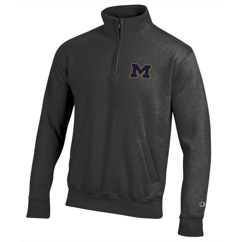 Michigan Wolverines Quarter Zip Sweatshirt Captain Gray APC03197464