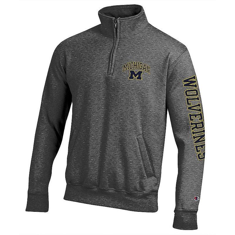 Michigan Wolverines Quarter Zip Sweatshirt Letterman Charcoal APC03027306-APC03027308