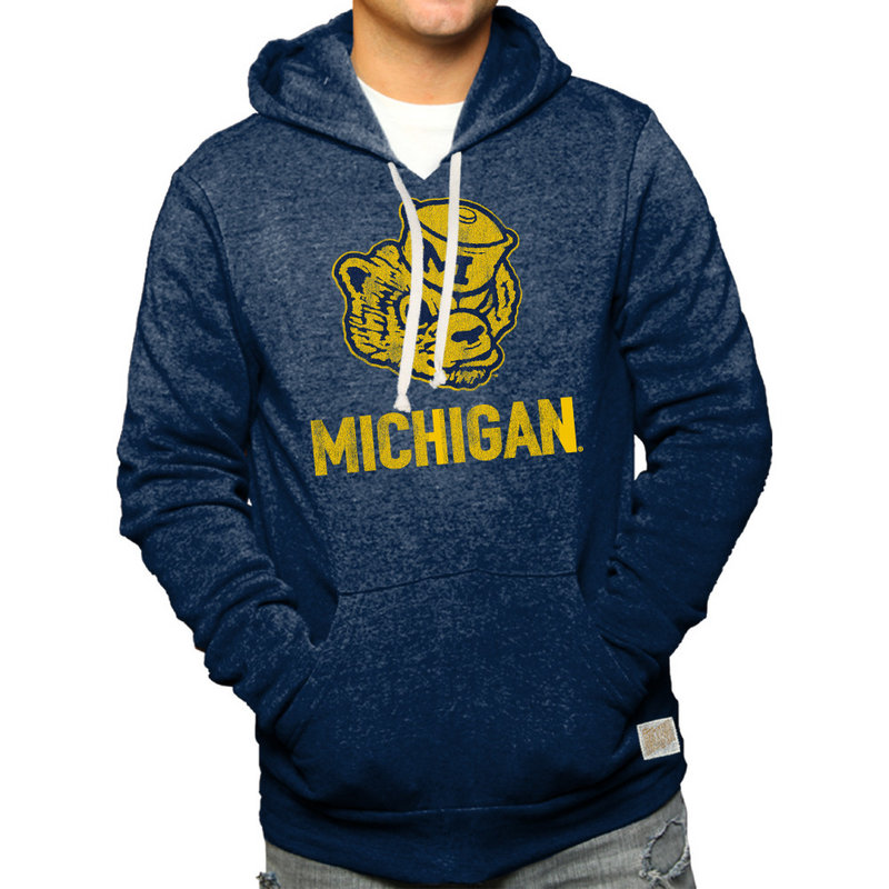 Michigan Wolverines Retro Hoodie Sweatshirt Navy RB6090