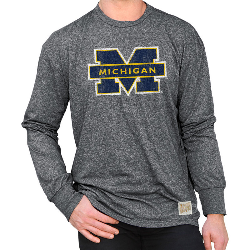 Michigan Wolverines Retro Long Sleeve TShirt Charcoal CMIC100A_MTCH