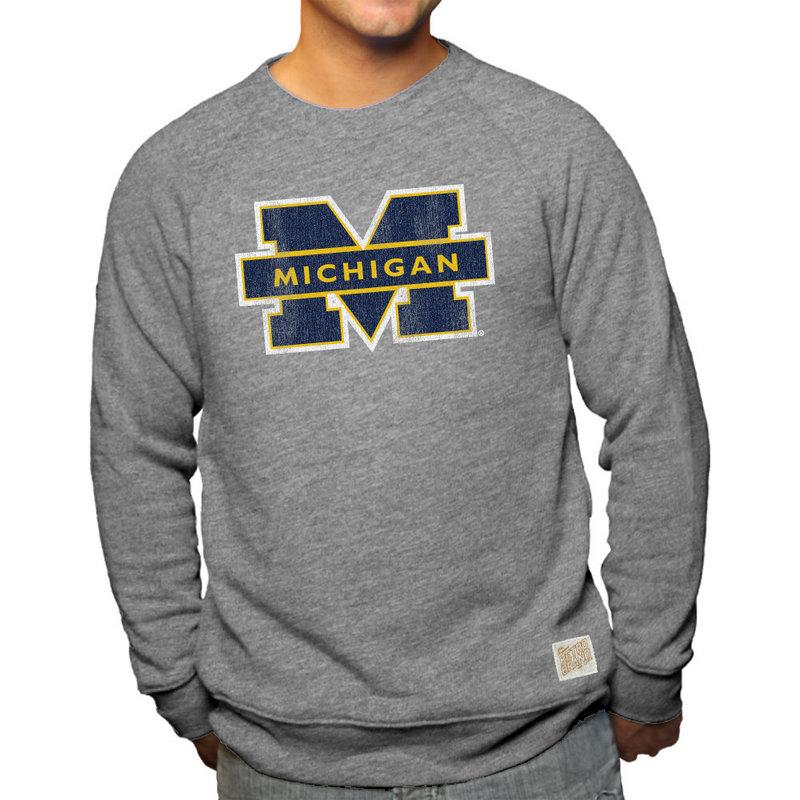 Michigan Wolverines Retro TriBlend Crewneck Sweatshirt Gray RB6095_CMIC100A_GYF