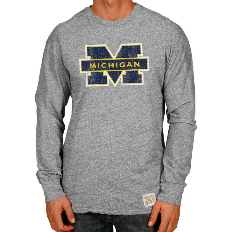 MIchigan Wolverines Retro TriBlend Long Sleeve Tshirt Gray RB420_CMIC100A_STG