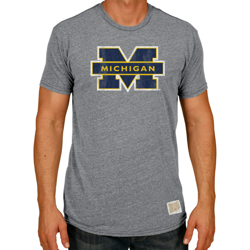 Michigan Wolverines Retro TriBlend Tshirt Gray RB120_CMIC100A_STG