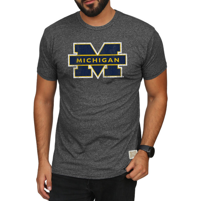 Michigan Wolverines Retro TShirt Charcoal CMIC100A_MTCH