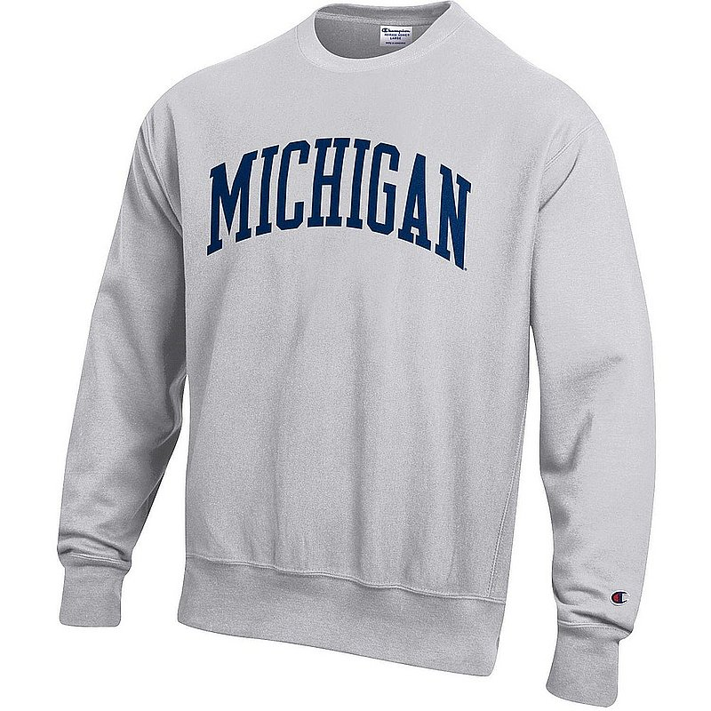 Michigan Wolverines Reverse Weave Crewneck Sweatshirt Gray APC03004947