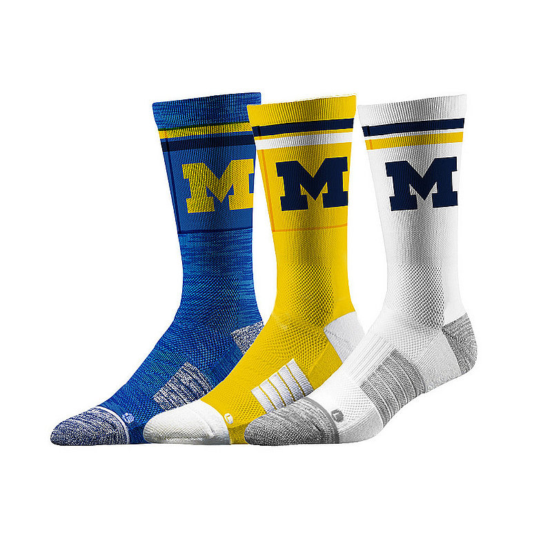 Michigan Wolverines Socks 3-Pack Retro Stripe