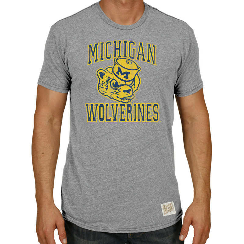 Michigan Wolverines TriBlend Vintage Tshirt Gray RB120-CMIC076A