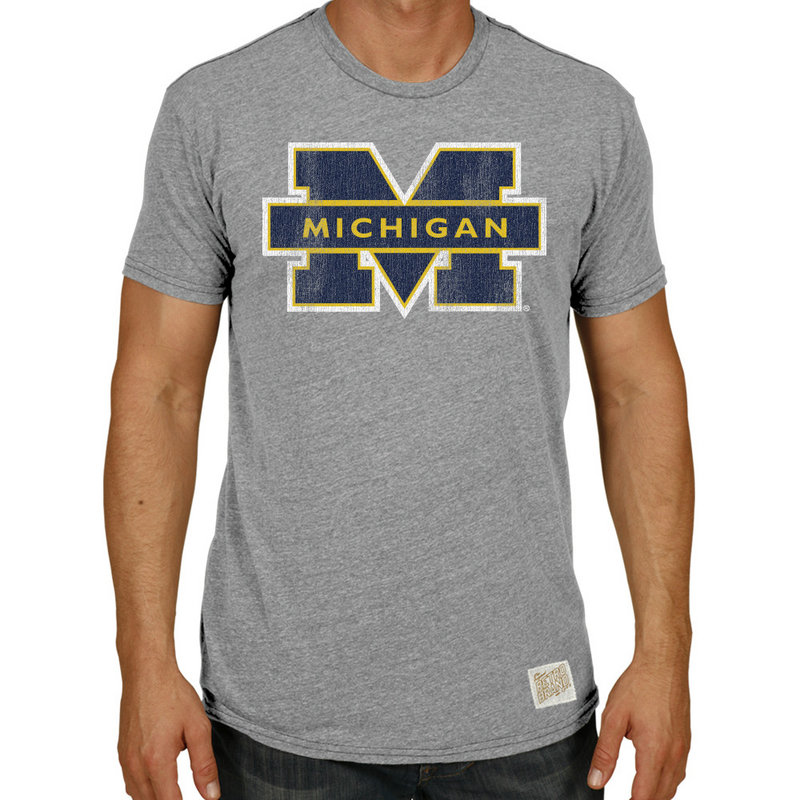 Michigan Wolverines TriBlend Vintage Tshirt Gray RB120-CMIC100A