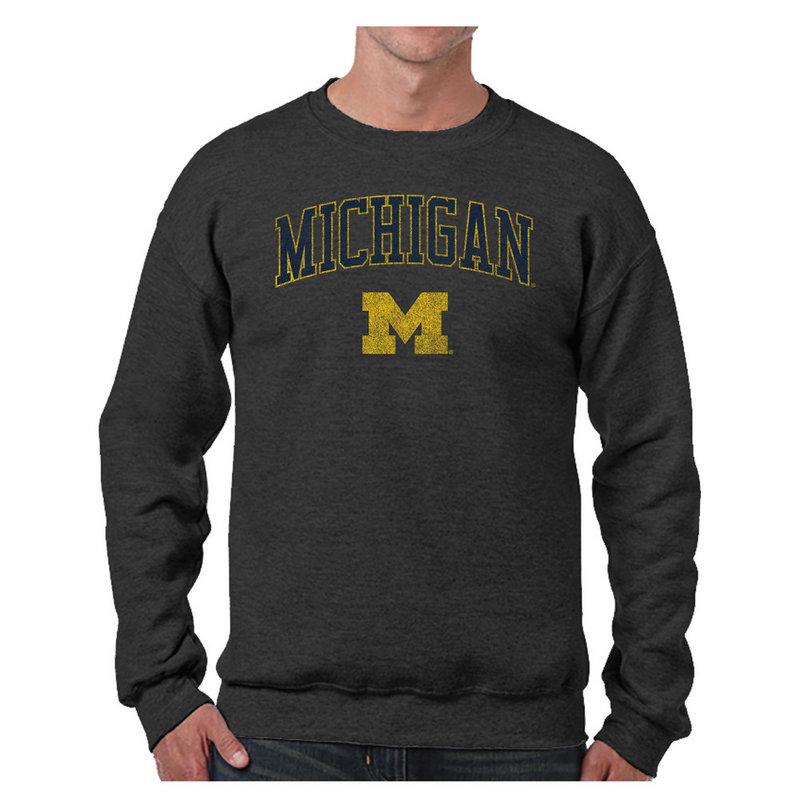 Michigan Wolverines Vintage Crewneck Sweatshirt Charcoal Victory MICV1412B