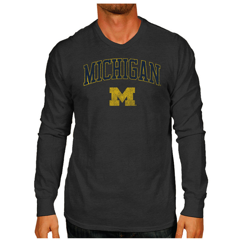 Michigan Wolverines Vintage Long Sleeve Tshirt Charcoal Victory TV402_MICV1412B_HBK