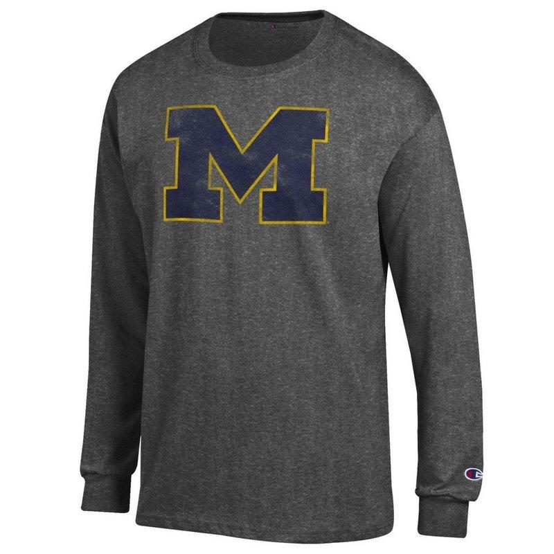 Michigan Wolverines Vintage Long Sleeve Tshirt Heather Gray APC02867878