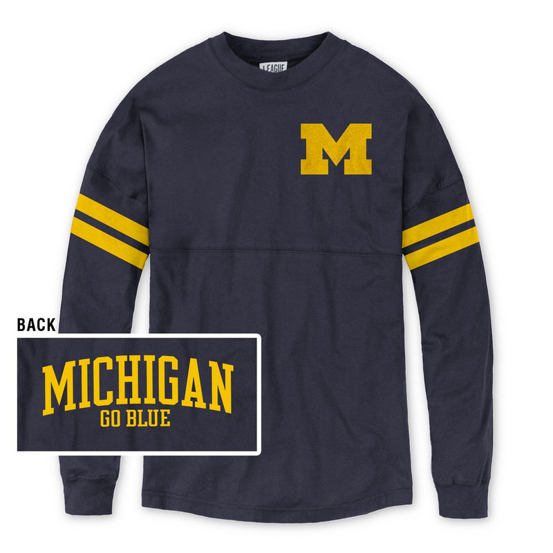 Michigan Wolverines Women's Long Sleeve Tshirt Navy R11-91524