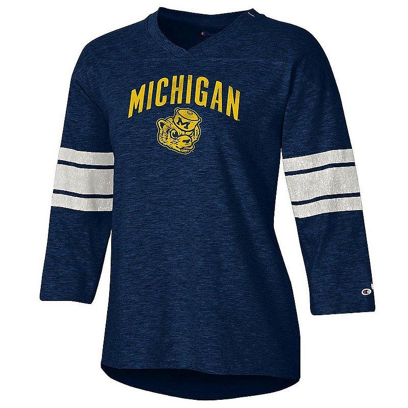 Michigan Wolverines Women's Slub Football TShirt APC03320262��