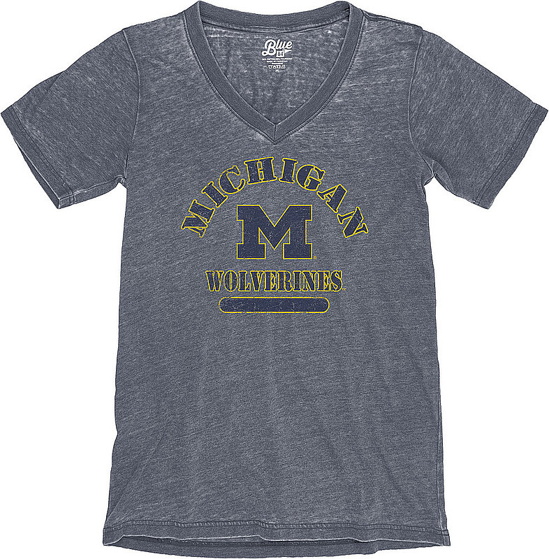 Michigan Wolverines Womens Burnout TShirt Vintage S7K9_JBWVT_NAVY