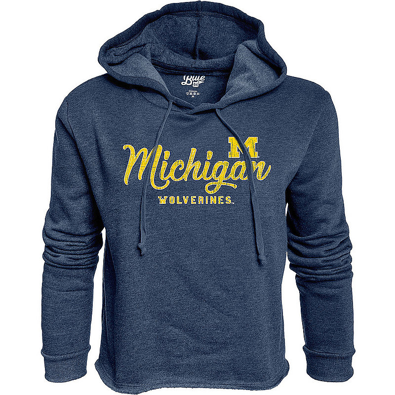 Michigan Wolverines Womens Crop Hoodie Sweatshirt Vintage S7KF_JCCF_NAVY