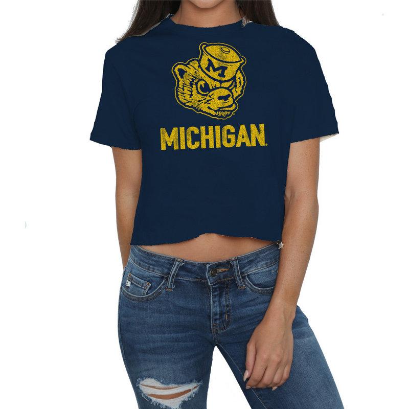 Michigan Wolverines Womens Crop TShirt CMIC204A_NAV