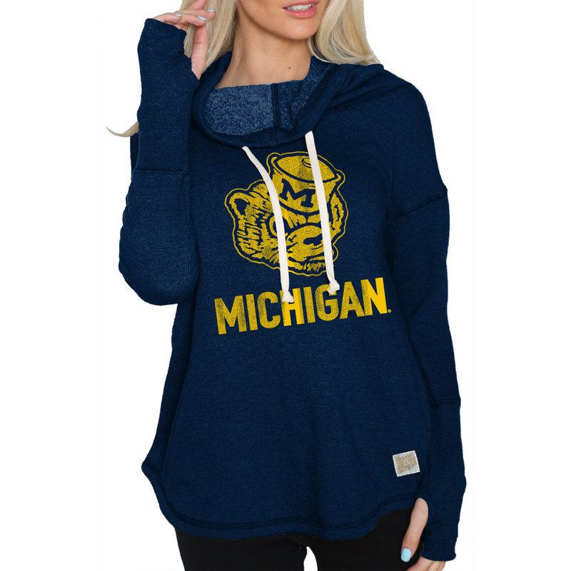 Michigan Wolverines Womens Funnel Neck Sweatshirt CMIC204A