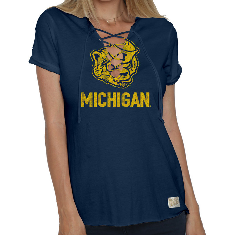Michigan Wolverines Womens Lace Up TShirt CMIC204V_NAV