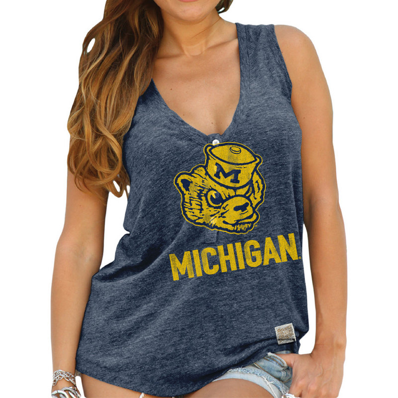 Michigan Wolverines Womens Relaxed Henley Tank Top CMIC204A