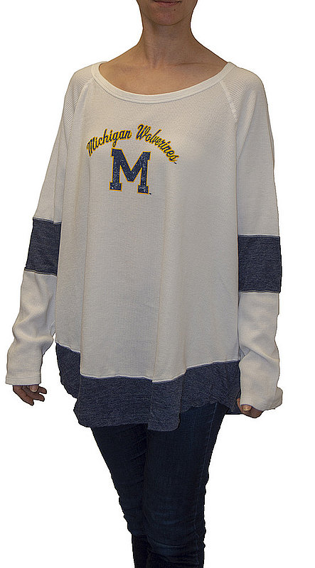 Michigan Wolverines Womens Thermal Long Sleeve Shirt MICR1053S_RB1906M_STN